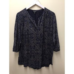 Lucky Brand Size 1X Blue Brown 3/4 Sleeve Blouse